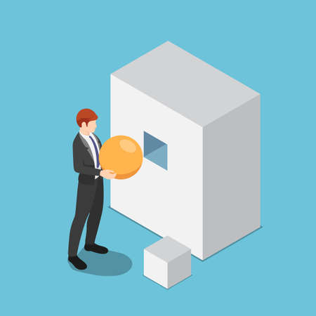 Flat 3d isometric businessman trying to put sphere shape into the square hole. Wrong decision and business management failure concept.
