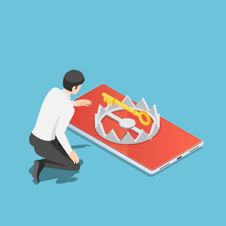 Flat 3d isometric businessman trying to get golden key from trap on smartphone. internet security and phishing attack on smartphone concept. 版權商用圖片 - 156333147