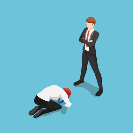 Flat 3d Isometric Businessman Prostrated in front of Business Leader. Leadership concept.