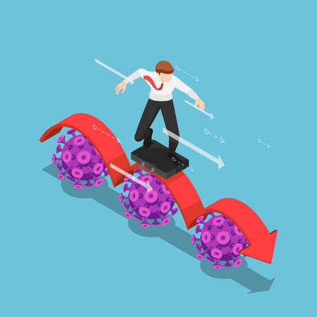 Flat 3d isometric businessman using business bag as a surfboard surfing on red arrow over covid-19 virus.