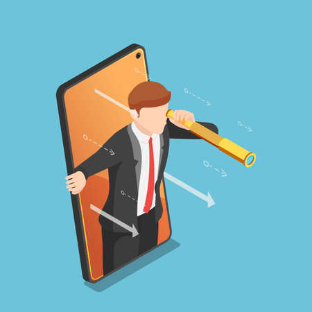 Flat 3d Isometric Businessman with Telescope Come Out From Smartphone Screen. Business Vision and Digital Marketing Concept.