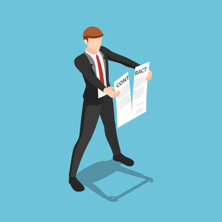 Flat 3d Isometric Businessman Tearing Apart Contract Document. Business Contract Termination Concept.
