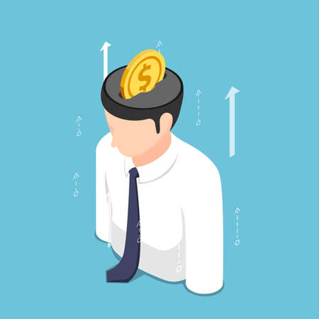 Flat 3d Isometric Golden Coin Putting Inside Businessman Head. Investing in Knowledge and Self Improvement Concept.