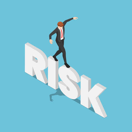 Flat 3d Isometric Businessman Try to Walk and Balancing on Risk Word. Risk Management Concept. Çizim