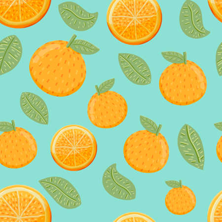 Orange Fruit and Leafs Seamless Pattern Background in Hand Drawn Style.