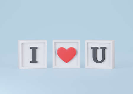 I Love U Words in Cube on Blue Background. Happy Valentines Day Concept. 3d Rendering.