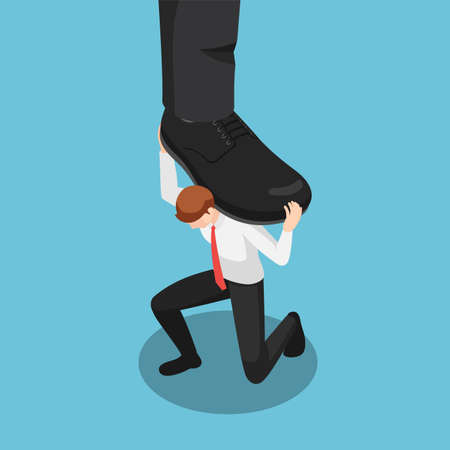 Flat 3d Isometric Businessman Carrying Stomping Foot. Business Pressure and Oppressive Concept