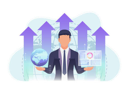 Businessman Holding World and Business Chart with Growth Graph Background. Global Business concept.