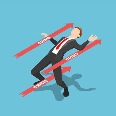 Flat 3d Isometric Businessman Avoided Red Crisis Arrow. Business Crisis Management Concept. Çizim