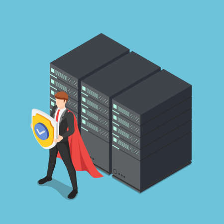 Flat 3d Isometric Super Businessman Holding Shield Protecting Data Center Server Racks. Database security and DData Protection Concept.