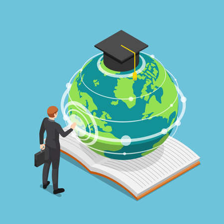 Flat 3d Isometric Businessman Touching Earth Globe with Graduation Cap. Worldwide or Global Education and E-learning Concept. Çizim