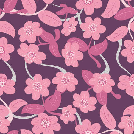 Seamless Pattern of Abstract Flower and Leaf. Floral Pattern Vector Background