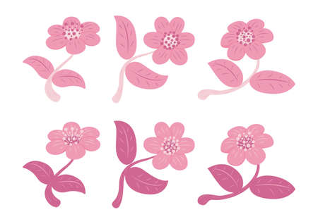 Set of Retro Style Flower and Leaf Isolated on White Background. Floral Elements Icon. Çizim