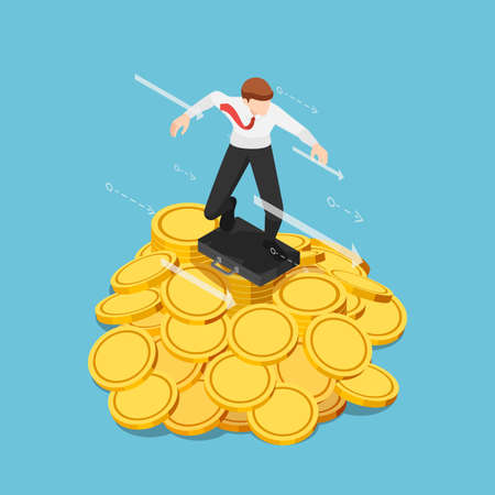 Flat 3d Isometric Businessman using Business Bag as a Surfboard Surfing on Gold Coin Pile. Financial Concept.