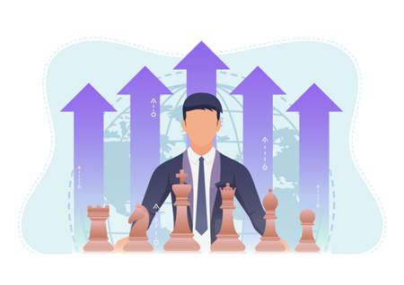 Businessman with Chess Piece and Growth Financial Arrow. Business Strategy and Leadership Concept. Çizim