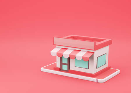 3d Rendering Online Store on Smartphone on Red Background. Online Shopping and E-Commerce Concept.