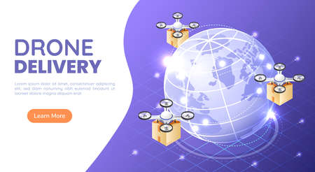 3d Isometric Web Banner Quadcopter or Drone Flying and Carrying a Package to Delivery Around The World. Drone Delivery and Shipment Innovation Concept.