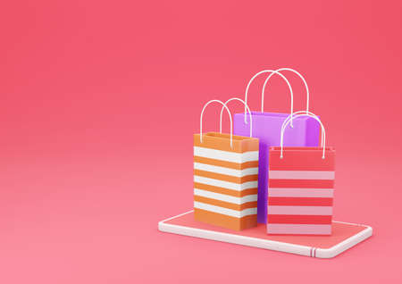 3d Rendering Shopping Bag on Smartphone on Red Background. Online Shopping and E-Commerce Concept.
