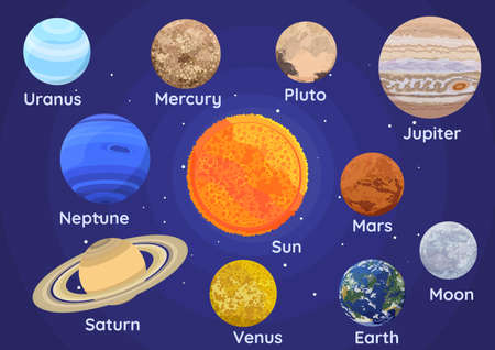 Set of Planets of The Solar System Inclue Pluto on space background. Çizim