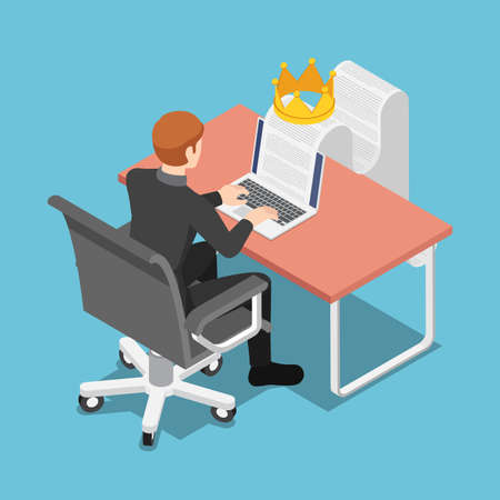 Flat 3d Isometric Businessman Typing on Laptop with Document and Crown. Content is King and Content Marketing Concept.