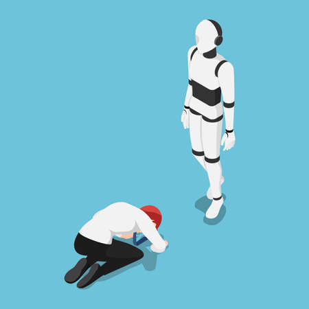 Flat 3d Isometric Businessman Prostrated In Front Of Ai Robot. Artificial Intelligence Technology and Ai Rule The World Concept. Çizim