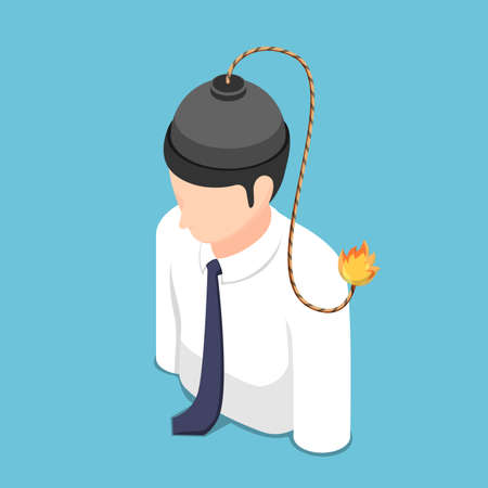 Flat 3d Isometric Bomb with Burning Fuse Inside Businessman Head. Anger and Stress Problem Crisis Management Concept.