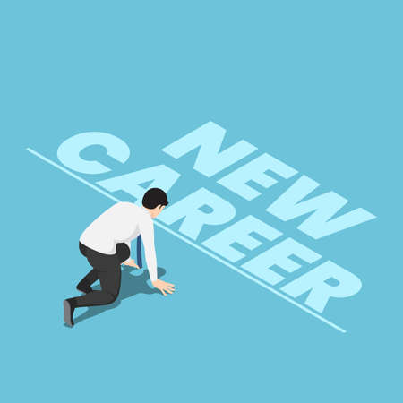 Flat 3d Isometric Businessman in Starting Position and Ready to Start New Career. Start New Career Concept. Çizim