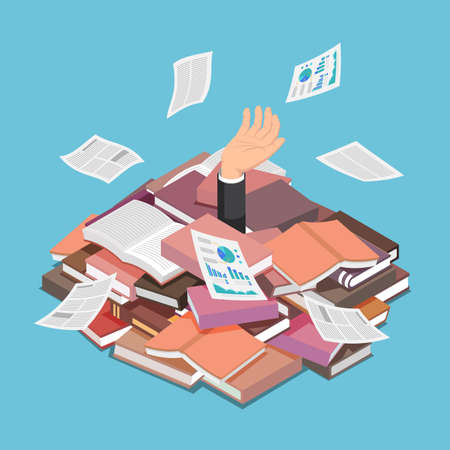 Flat 3d Isometric Businessman Drowned in Book and Document Pile. Information Overload and Overwork Concept.