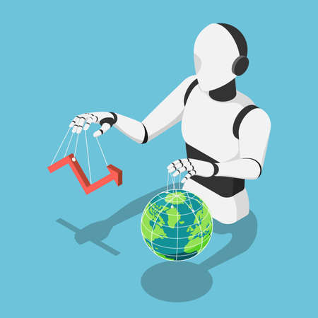 Flat 3d Isometric Ai Robot Controlling market financial chart and The World Globe. Ai Artificial Intelligence Control The Infrastructure of Entire Planet and Machine Learning Technology Concept.
