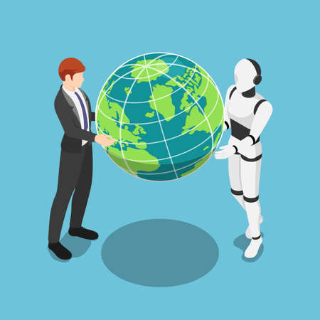 Flat 3d Isometric Businessman and Ai Robot Holding The World Together. Teamwork and Ai Artificial Intelligence Concept.
