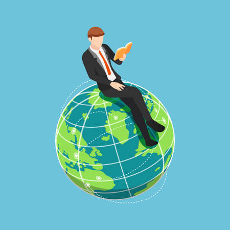 Flat 3d Isometric Businessman Sitting and Reading Book on The World. International and Global Education Concept. Çizim
