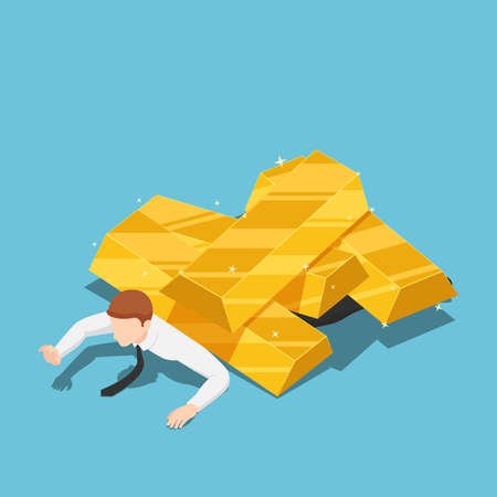 Flat 3d Isometric Businessman Under The Gold  Bar Pile. Gold Market Price Crisis and Investment Concept.