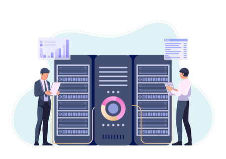 Businessmans or Engineer Working in Data Center Room. Server Management and Database System Maintenance Concept. Çizim