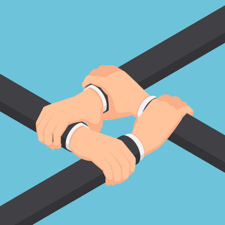 Flat 3d Isometric Businessman Hands Holding Each Other Wrist. Teamwork and Business Collaboration Concept.