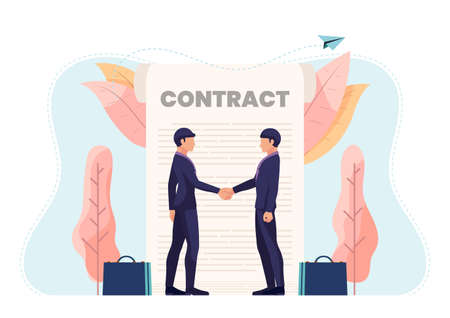 Businessman Shaking Hands with Contract Document. Business Partnership and Contract Agreement Concept.