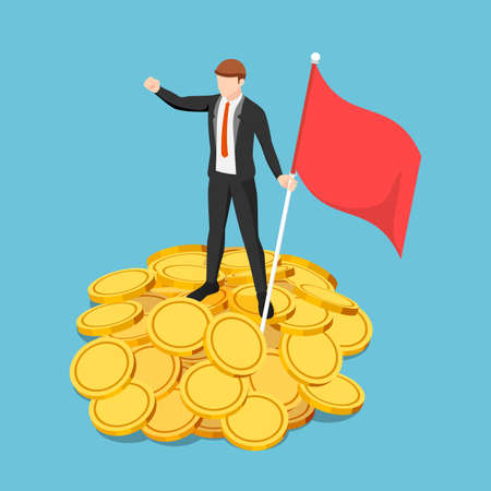 Flat 3d Isometric Businessman Holding Flag and Standing on The Pile of Gold Coin. Business Success and Financial Concept.