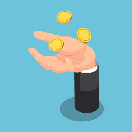 Flat 3d Isometric Businessman Throwing Up Coin On His Hand. Business and Finance Concept.