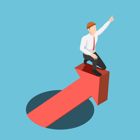 Flat 3d Isometric Businessman Leading Financial Graph Rising From Hole. Business Success and Leadership Concept.