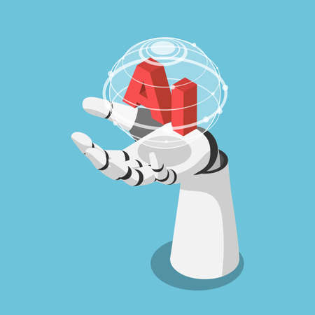 Flat 3d Isometric Hand of Artificial Intelligence Robot Holding Futuristic Globe with Connection Network. Artificial Intelligence and Machine Learning Concept.