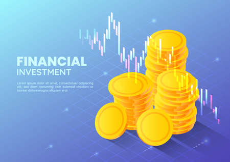 3d Isometric Web Banner Golden Money Coin with Stock Market Trading Graph. Financial and Investment Concept. Çizim
