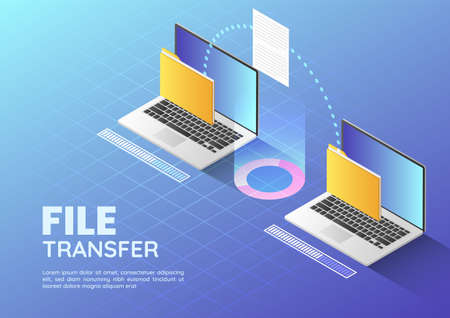 3d Isometric web banner Two Laptop Transfer Files and Organize Folder. File Sharing and Document Management Concept Llanding Page.