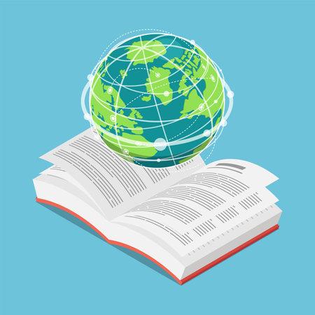 Flat 3d Isometric World Globe on Open Text Book. International education Concept Çizim