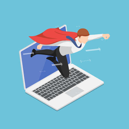 Flat 3d Isometric Super Businessman Flying Out From laptop Screen. Business Startup and Online Marketing Boost Concept.