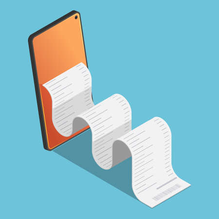 Flat 3d Isometric Financial Bill come out from smartphone.  Mobile Electronic Payment and Internet Banking Concept. Çizim
