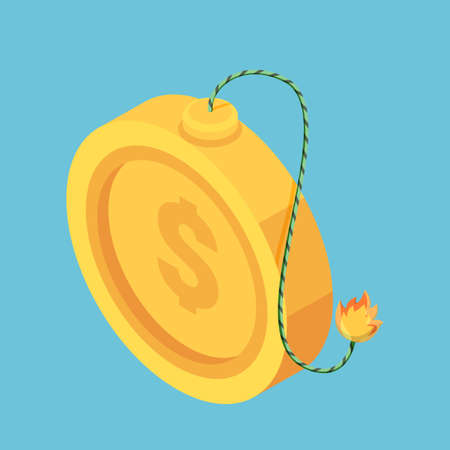 Flat 3d Isometric Golden Dollar Coin with Burning Fuse. Financial and Economic Crisis Concept.