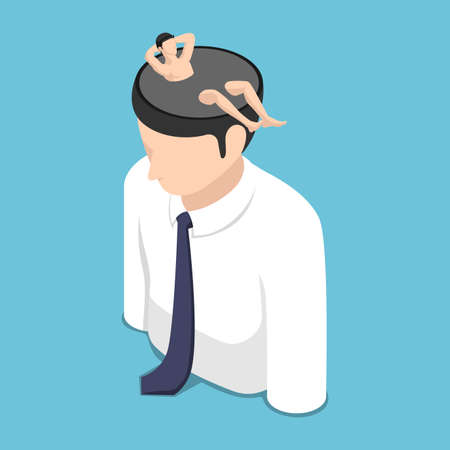 Flat 3d Isometric Relaxed Businessman Resting Inside Himself Head. A Time for Relax and Vacation Concept.