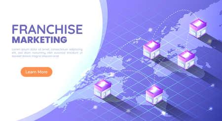 3d Isometric Web Banner Franchise Store on World Map Around The World. Franchise Business Marketing Concept. Çizim