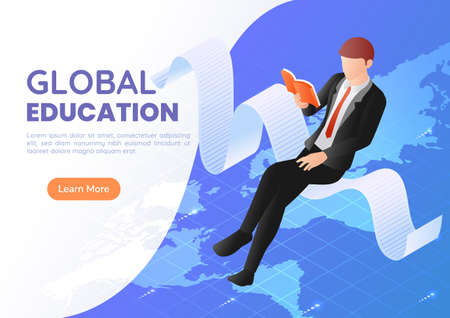 3d Isometric Web Banner Businessman Sitting Reading Book Over The World Map. International and Global Business Education Concept.
