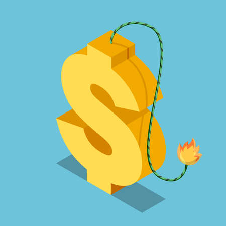 Flat 3d Isometric Golden Dollar Symbol with Burning Fuse. Financial and Economic Crisis Concept. Çizim
