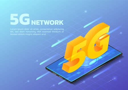 3d Isometric Web Banner Smartphone with 5G Hi Speed Internet Network. 5G Network Wireless Technology Concept.